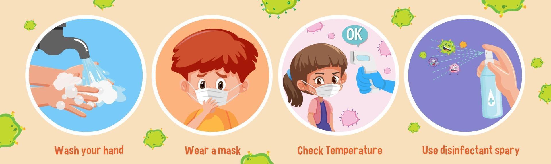 infographie de dessin animé de prévention des coronavirus vecteur