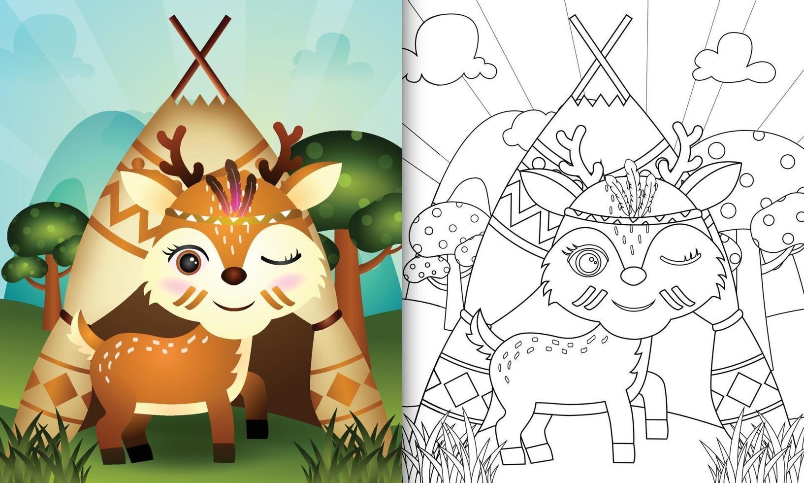 modèle de livre de coloriage pour les enfants avec une illustration de personnage de cerf boho tribal mignon vecteur