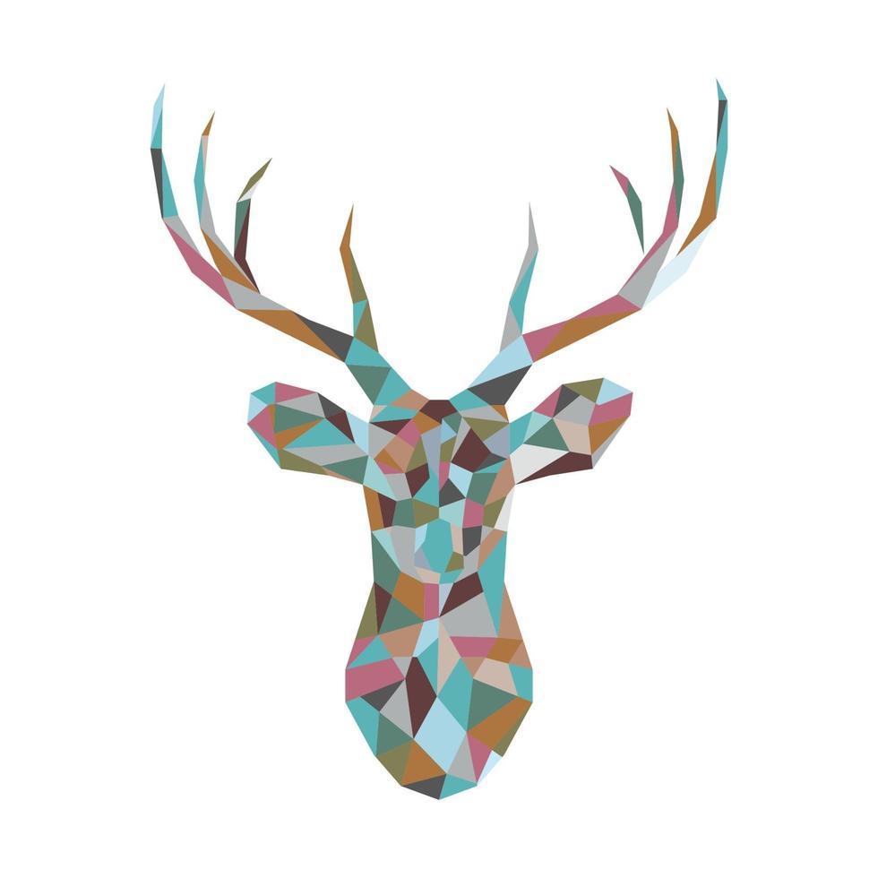 tête de cerf polygonale colorée. vecteur