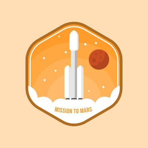 Plat Mission à Mars Patch Vector