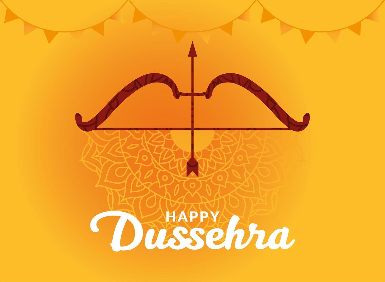 dussehra heureux et arc avec flèche sur la conception de vecteur de fond mandala jaune