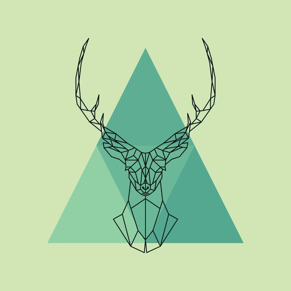 tête de renne polygonale. vecteur
