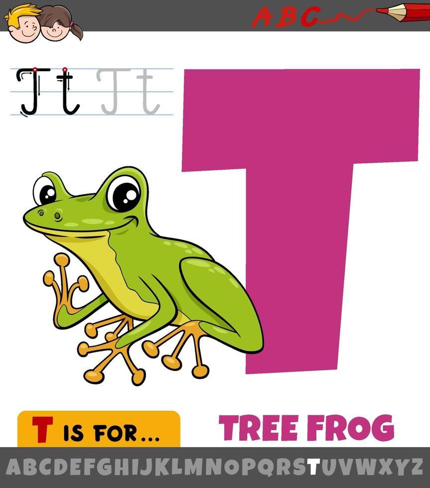 Lettre t de l'alphabet avec animal grenouille d'arbre de dessin animé vecteur