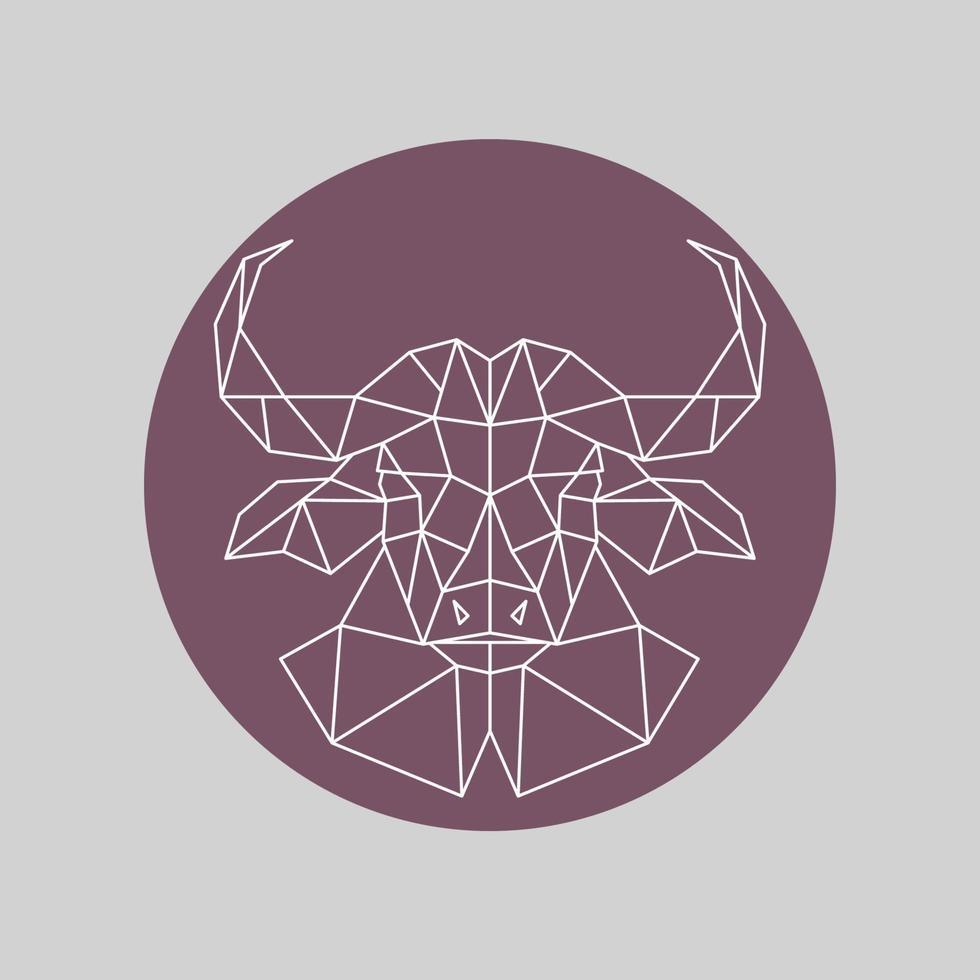 tête de buffle polygonale. style géométrique. vecteur