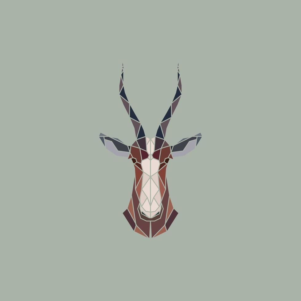 signe de vecteur tête abstraite d'antilope africaine blesbok.
