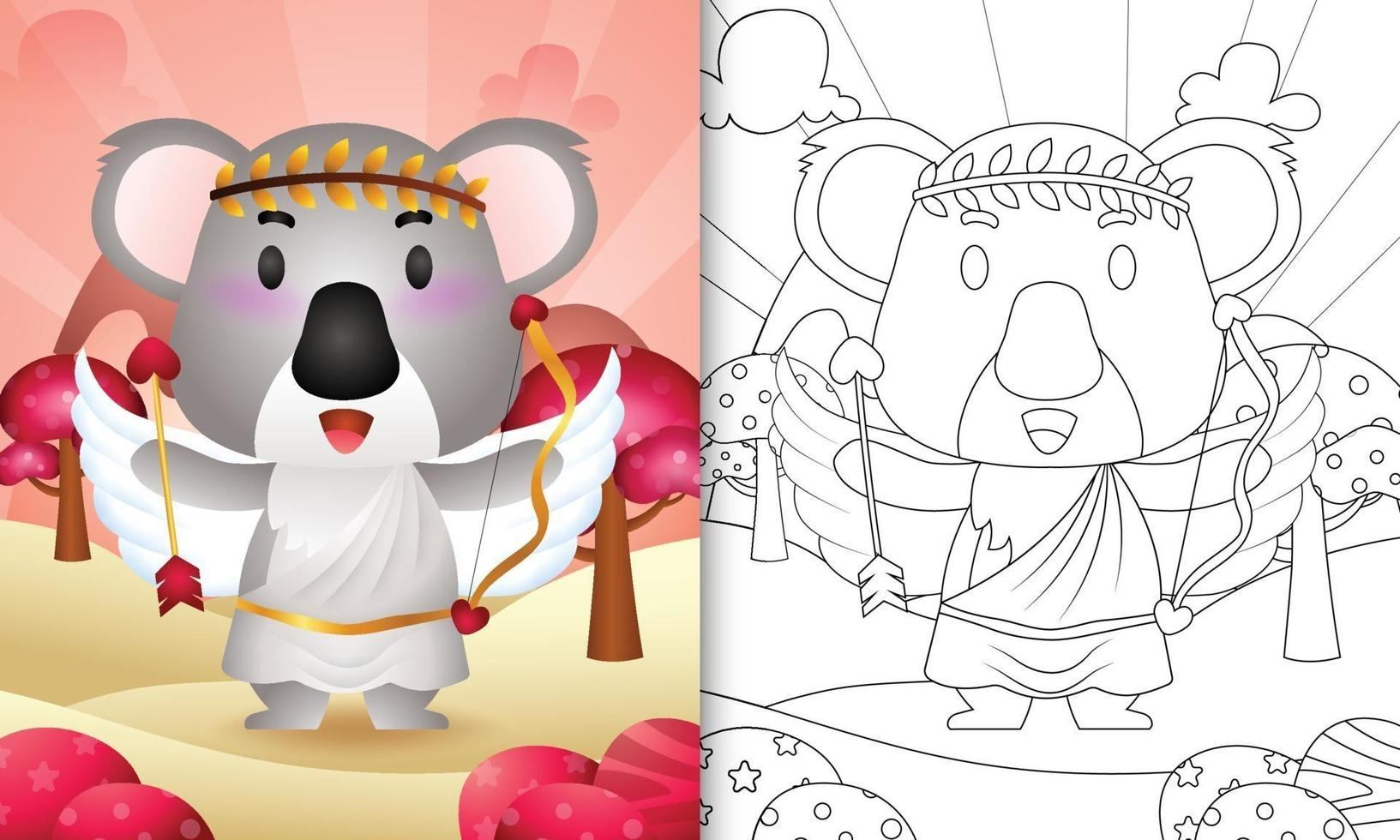 Livre de coloriage pour les enfants avec un ange koala mignon utilisant le costume de cupidon sur le thème de la Saint-Valentin vecteur