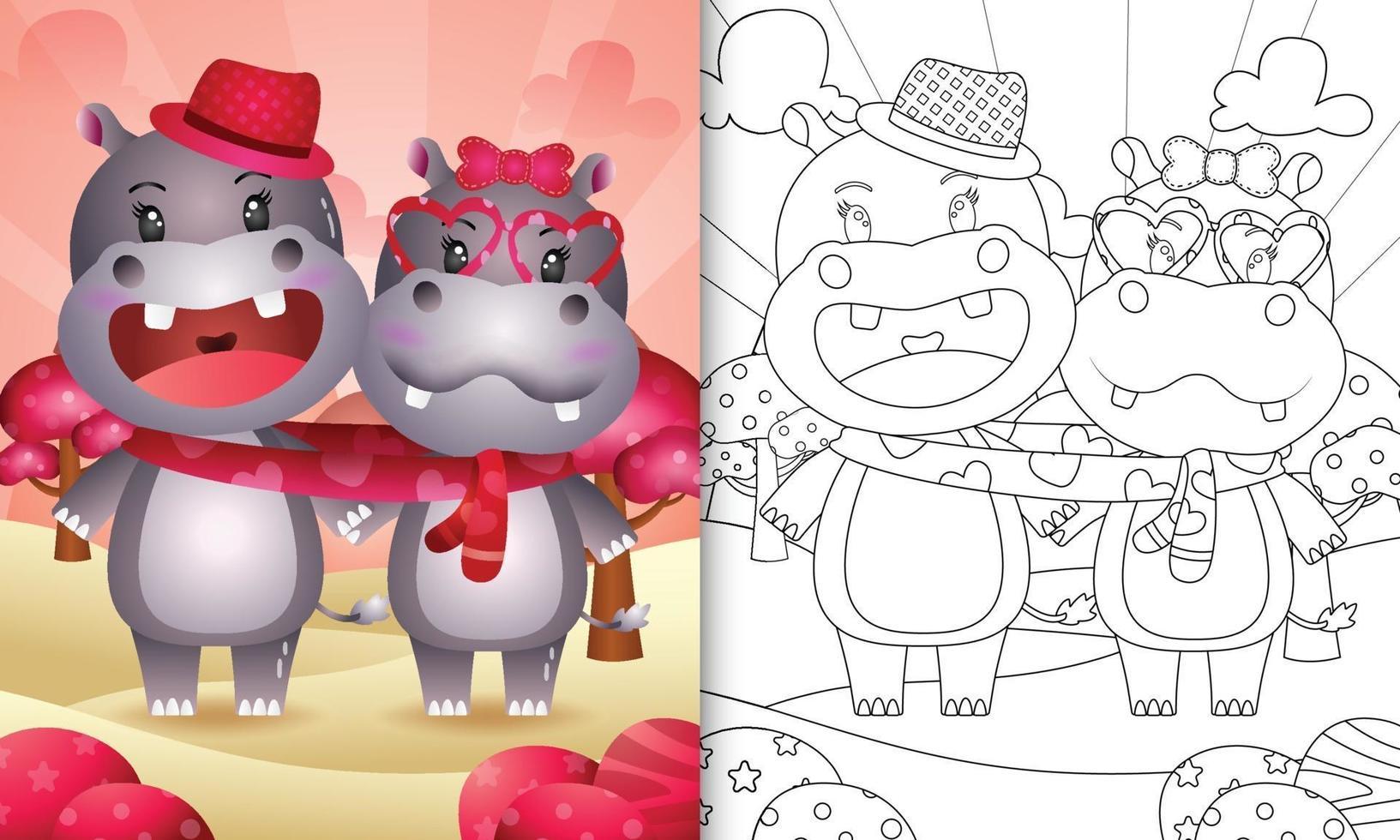 livre de coloriage pour les enfants avec un joli couple d'hippopotames de la Saint-Valentin illustré vecteur
