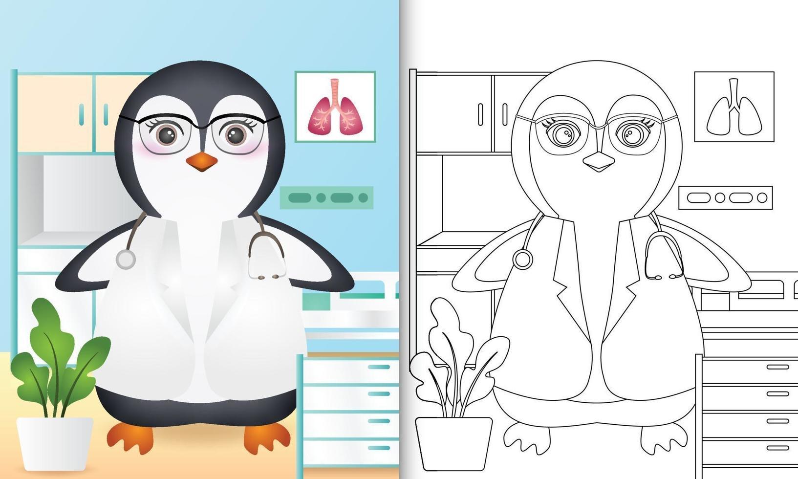 livre de coloriage pour les enfants avec une illustration de personnage mignon médecin pingouin vecteur