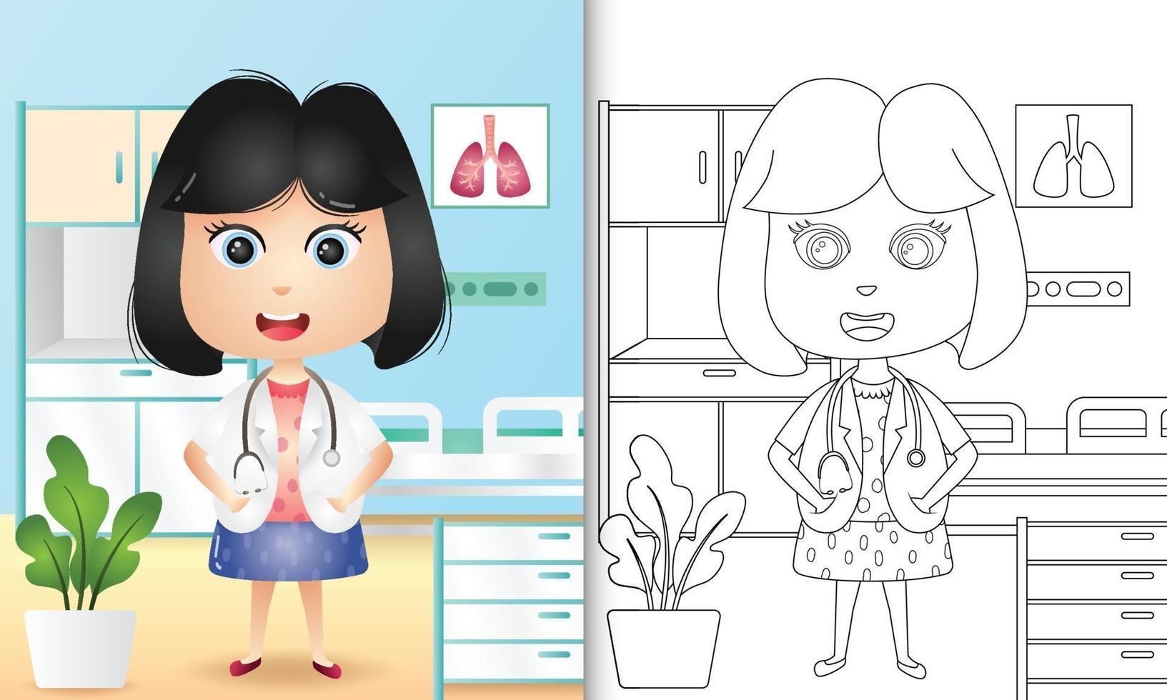 livre de coloriage pour les enfants avec une jolie illustration de personnage vecteur
