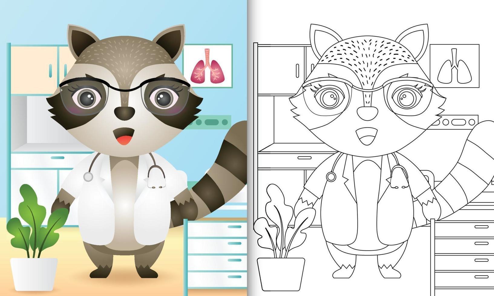 livre de coloriage pour les enfants avec une illustration de personnage mignon médecin raton laveur vecteur