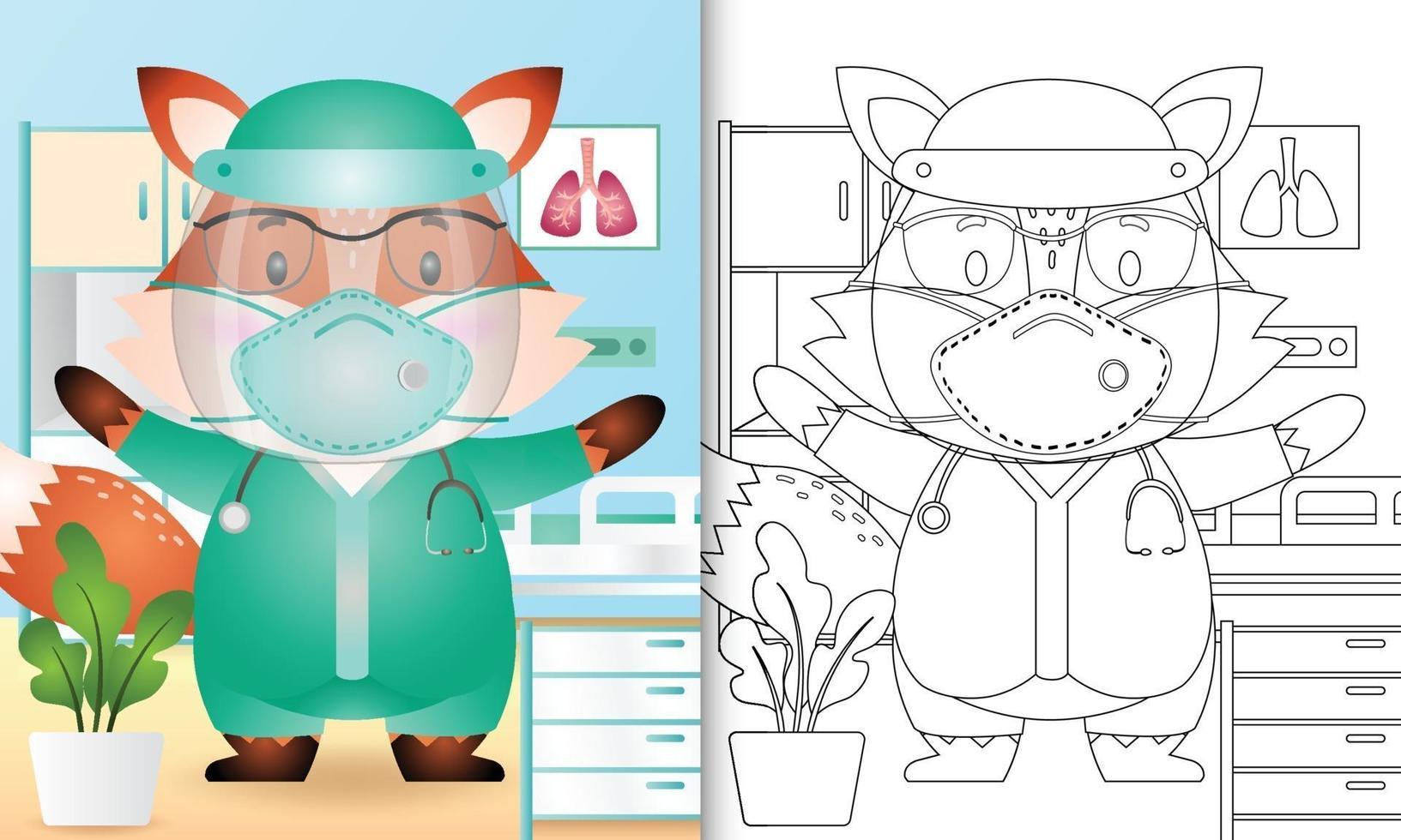 livre de coloriage pour les enfants avec une illustration de personnage de renard mignon utilisant le costume de l'équipe médicale vecteur