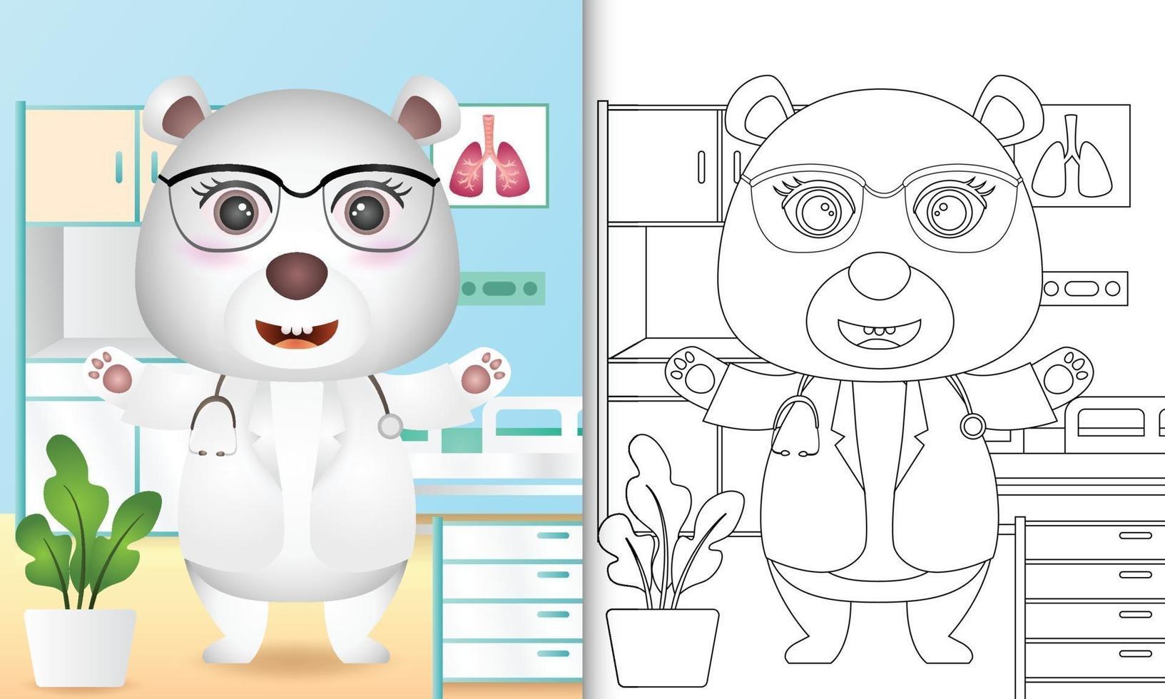 livre de coloriage pour les enfants avec une illustration de personnage mignon médecin ours polaire vecteur
