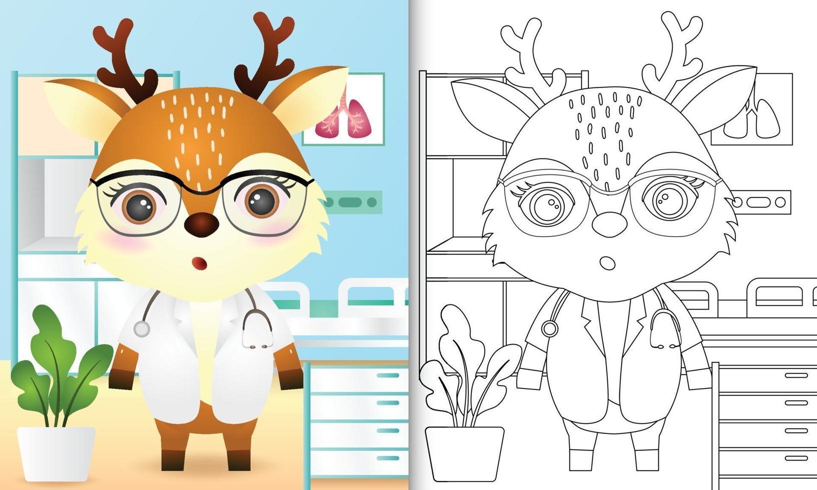 livre de coloriage pour les enfants avec une illustration de caractère mignon docteur cerf vecteur
