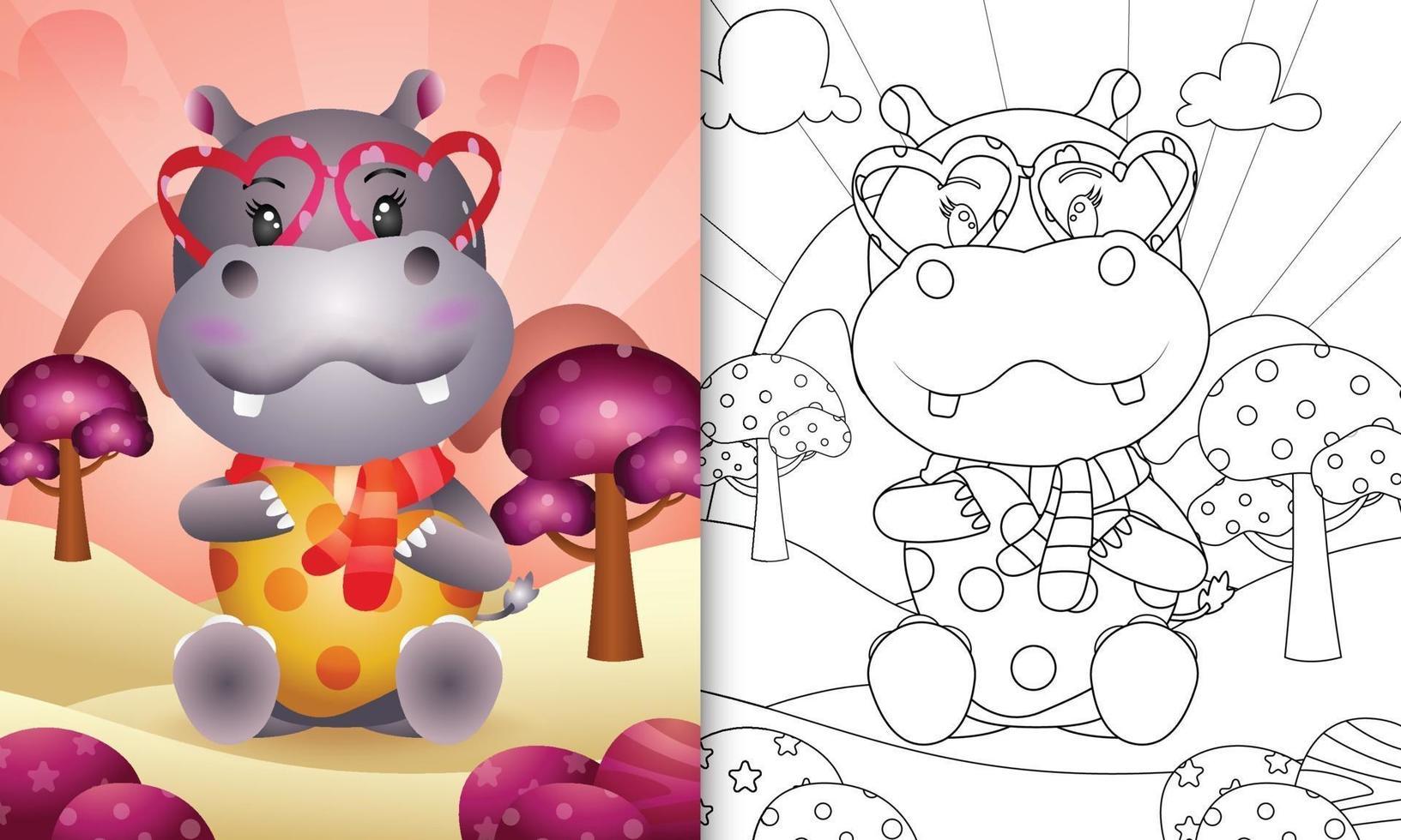 livre de coloriage pour les enfants avec un hippopotame mignon sur le thème de la saint valentin vecteur