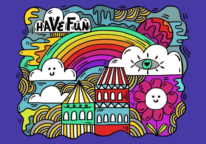 paysage de dessin animé coloré vecteur