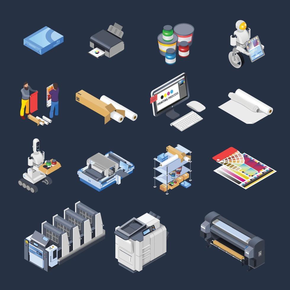 Icônes isométriques de l & # 39; industrie de la polygraphie imprimerie vecteur