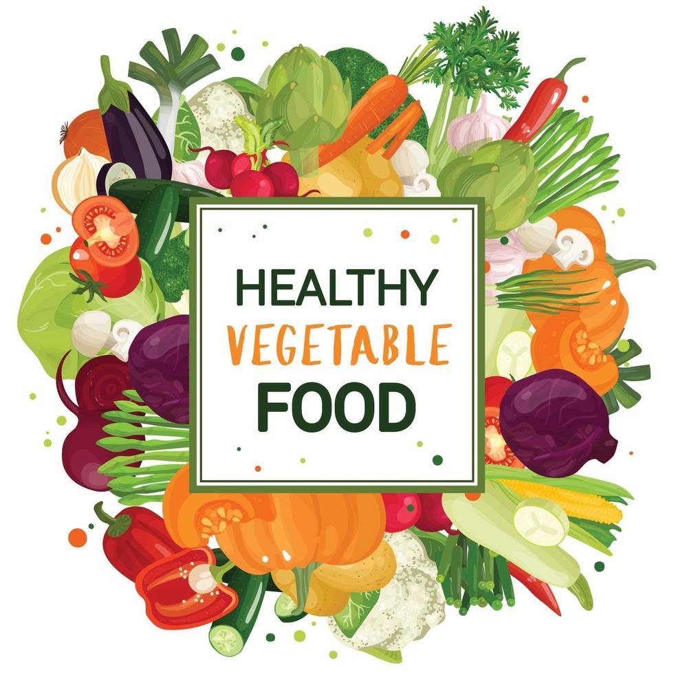 impression de cadre de légumes vecteur
