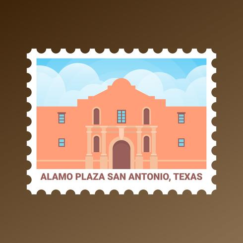 Alamo Plaza San Antonio Texas États-Unis Stamp vecteur