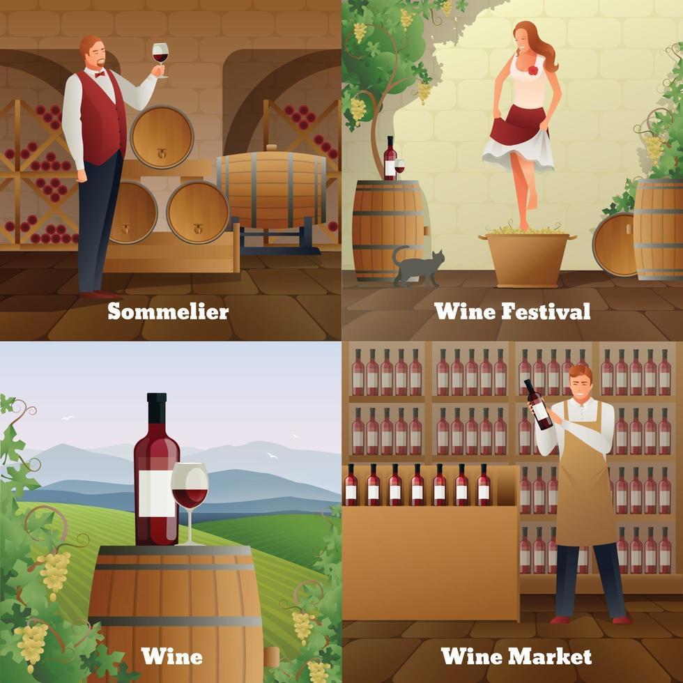production de vin gradient plat 2x2 vecteur