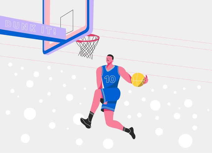 Slam Dunk Basketball Player vecteur plat Illustration