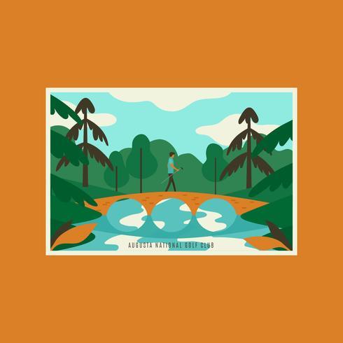 Cartes postales du club de golf national d'Augusta en Géorgie vecteur