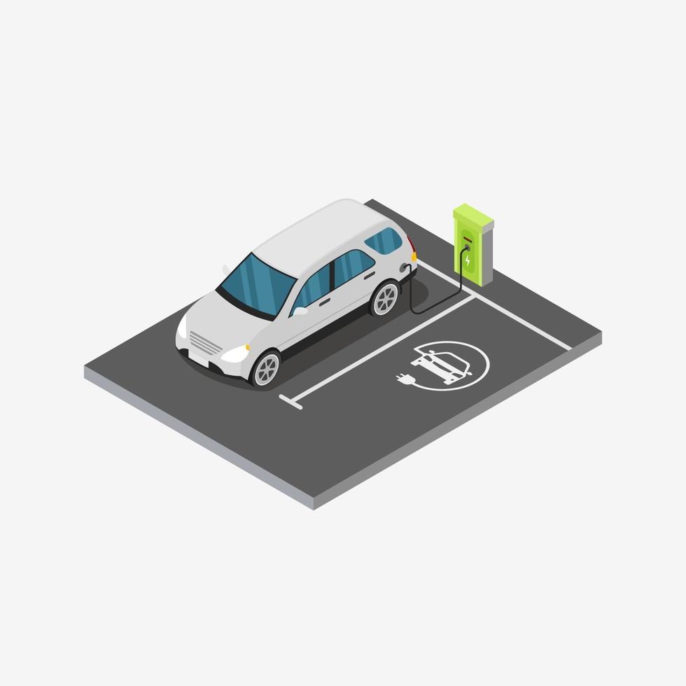 station de recharge de véhicule électrique isométrique design concept illustration vectorielle vecteur
