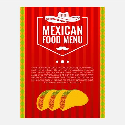Illustration vectorielle de menu alimentaire mexicain vecteur