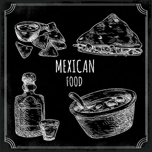 Menu de la cuisine mexicaine vecteur