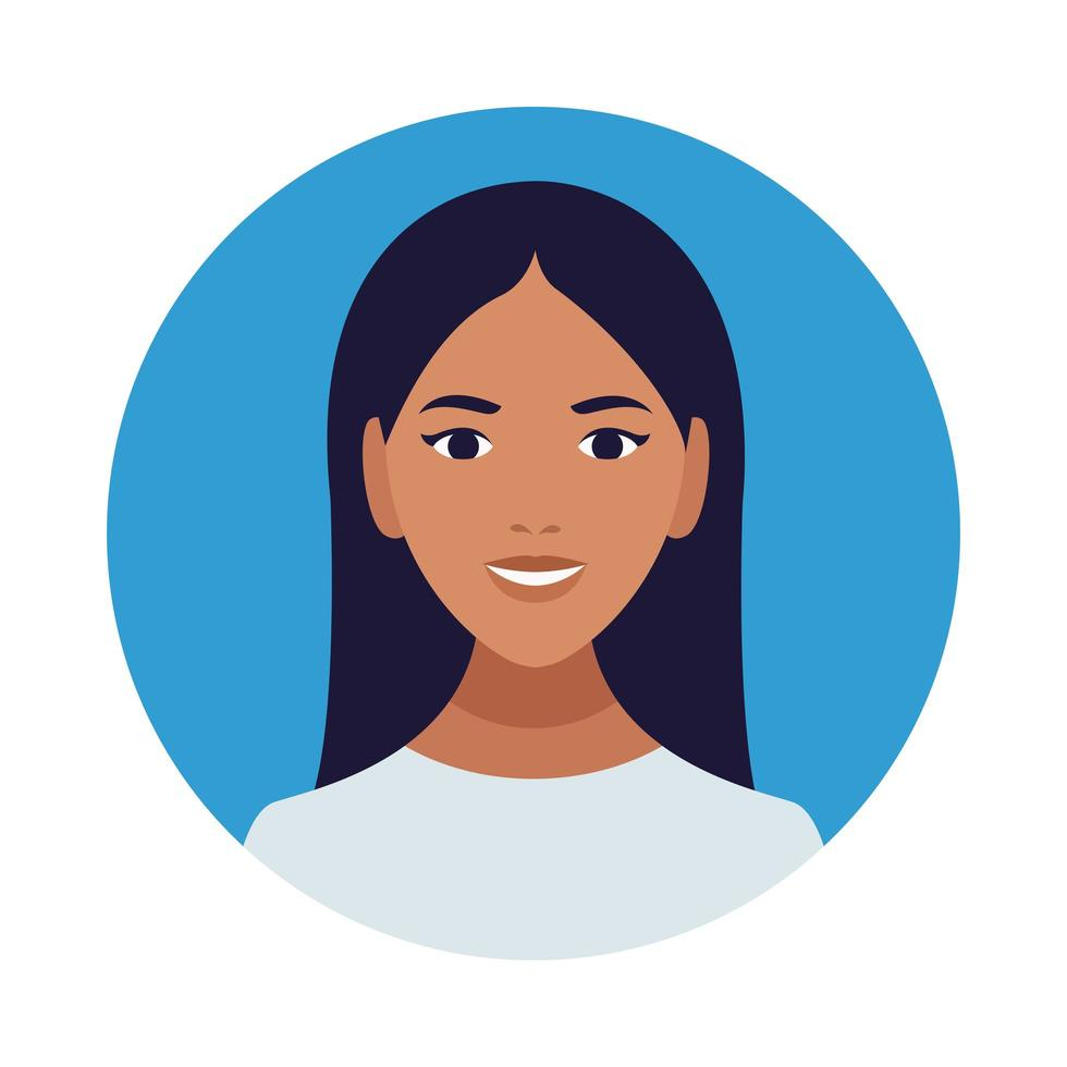 Icône de caractère avatar belle femme latine vecteur