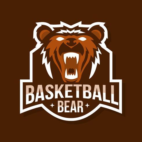 Mascotte d'ours de basket-ball vecteur