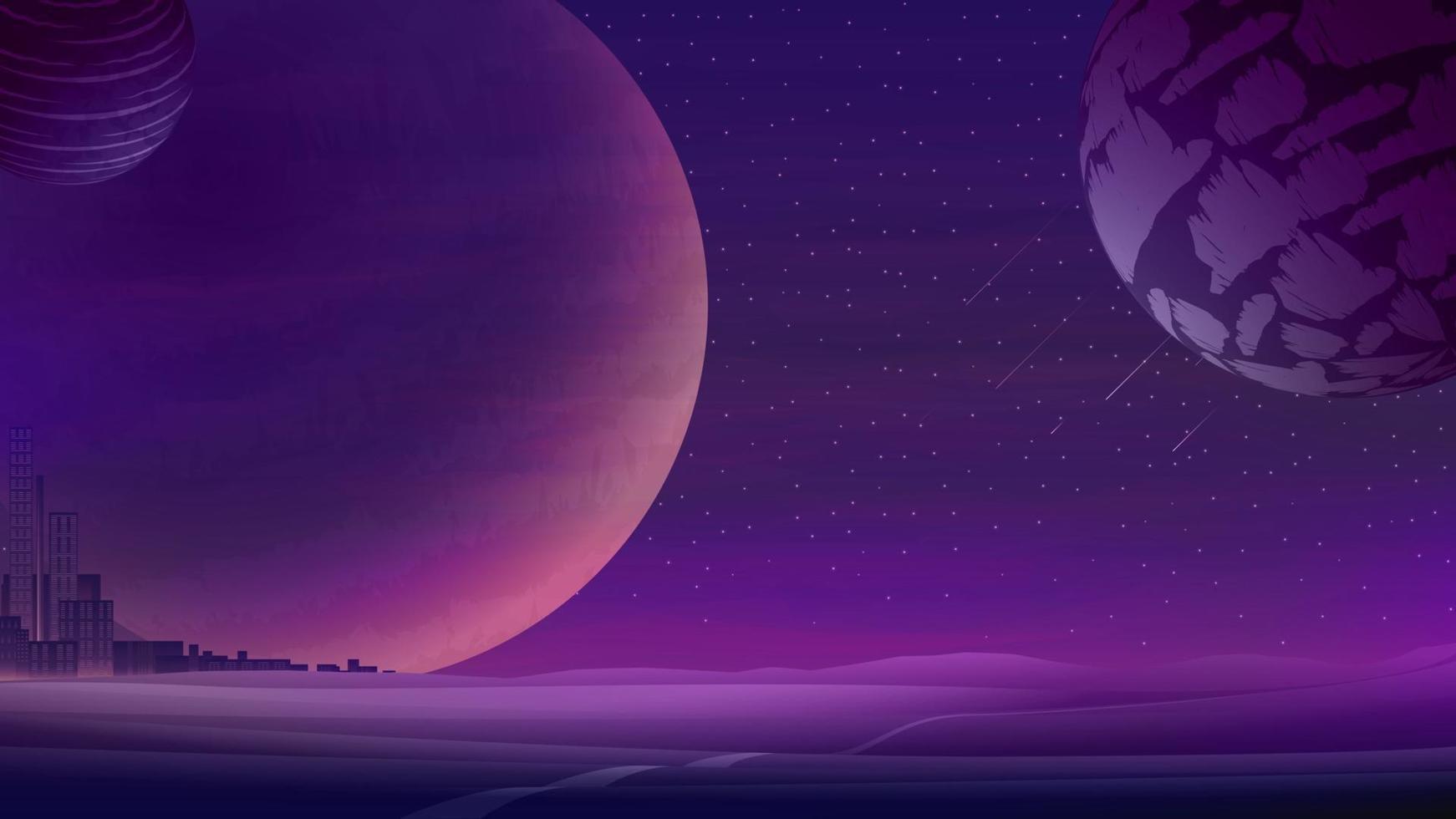 paysage de l'espace avec de grandes planètes sur le ciel étoilé violet et la ville à l'horizon, la nature sur une autre planète. illustration vectorielle. vecteur