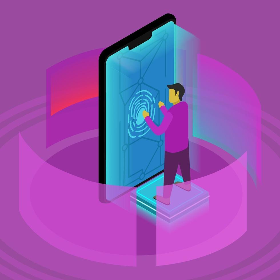 programmation d'empreintes digitales sur le développement mobile, concept d'illustration vectorielle isométrique vecteur