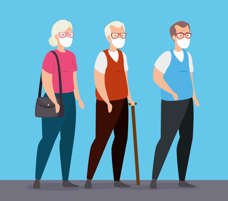 groupe de personnes âgées avec visage maks vecteur