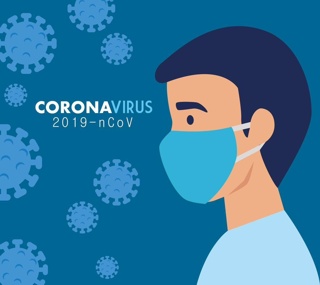 homme avec masque facial pour coronavirus vecteur