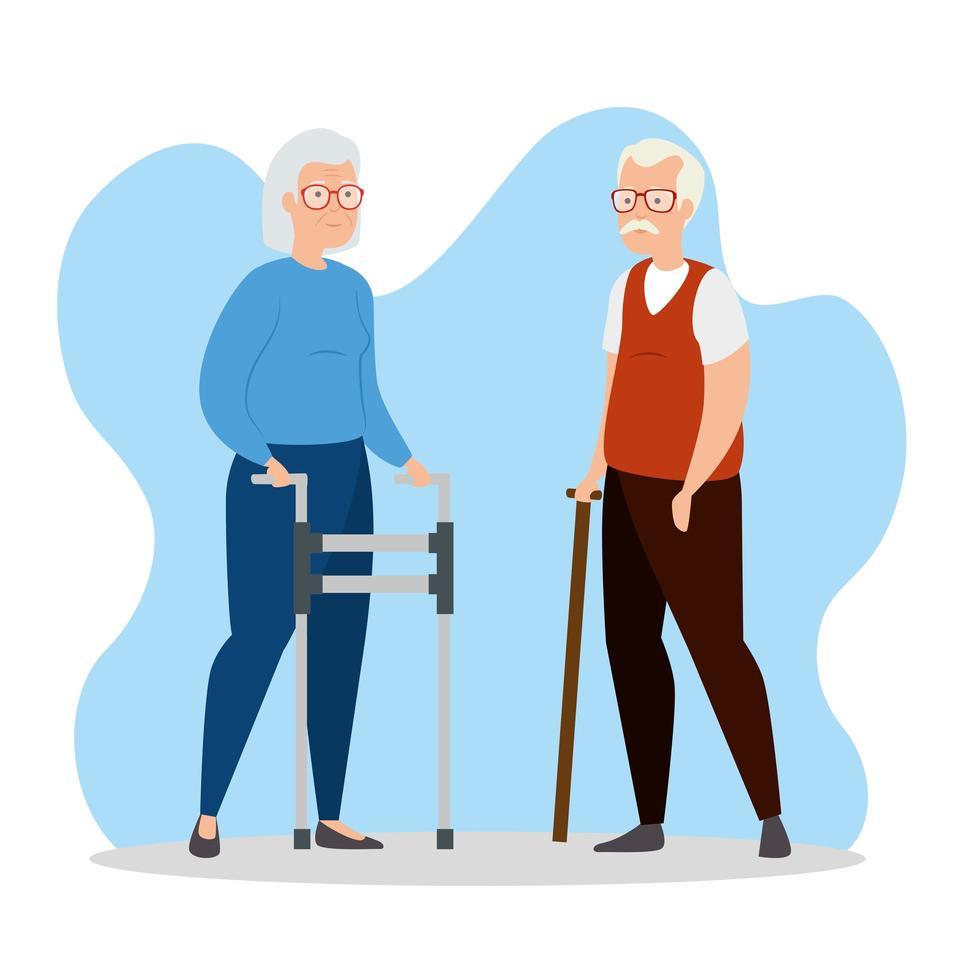 personnage avatar mignon vieux couple vecteur