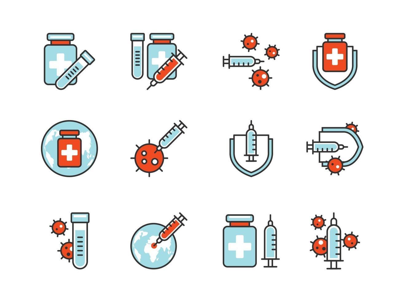 jeu d'icônes de vaccin covid-19 style de ligne de couleur. signe et symbole pour site Web, impression, autocollant, bannière, affiche. vecteur