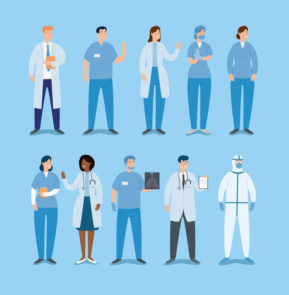ensemble de médecins et paramédicaux vecteur