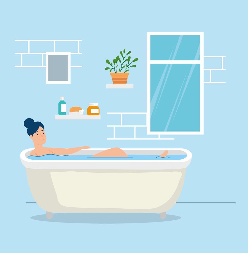 campagne rester à la maison avec femme dans la baignoire vecteur