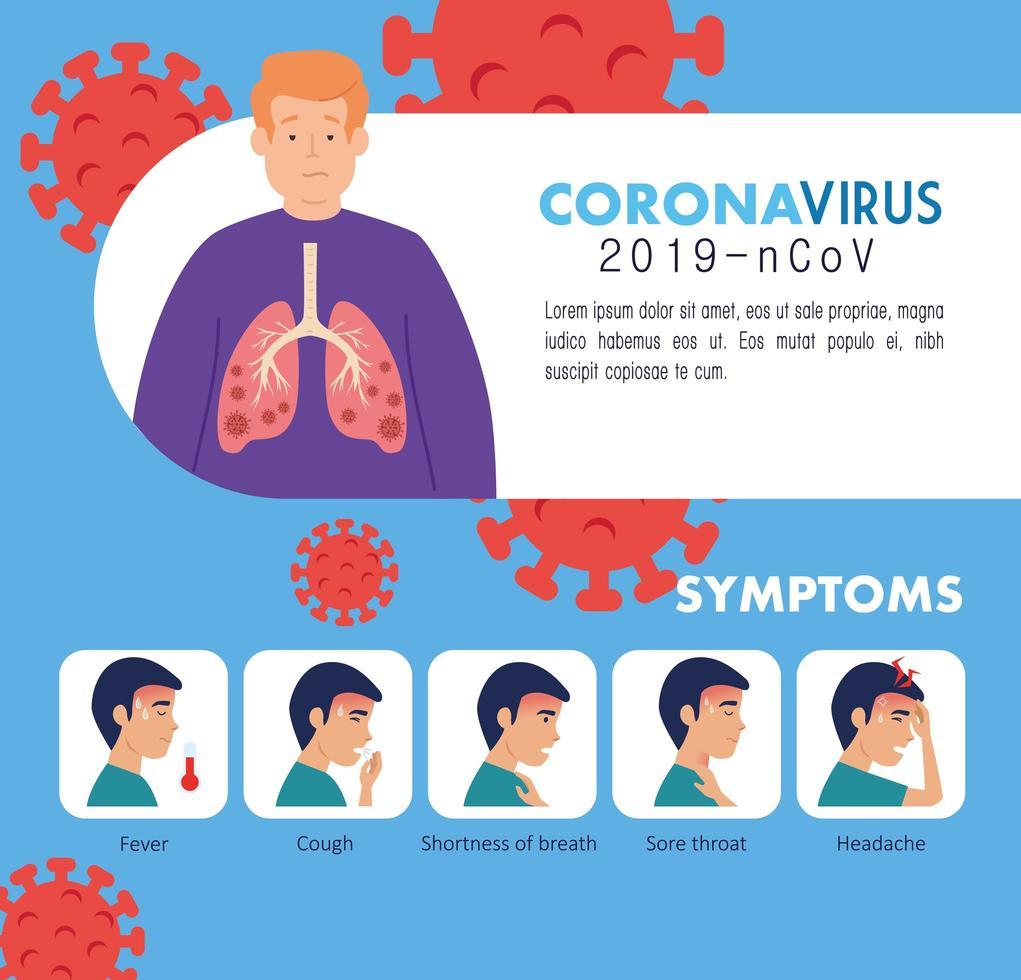 symptômes du coronavirus 2019 ncov avec des icônes vecteur