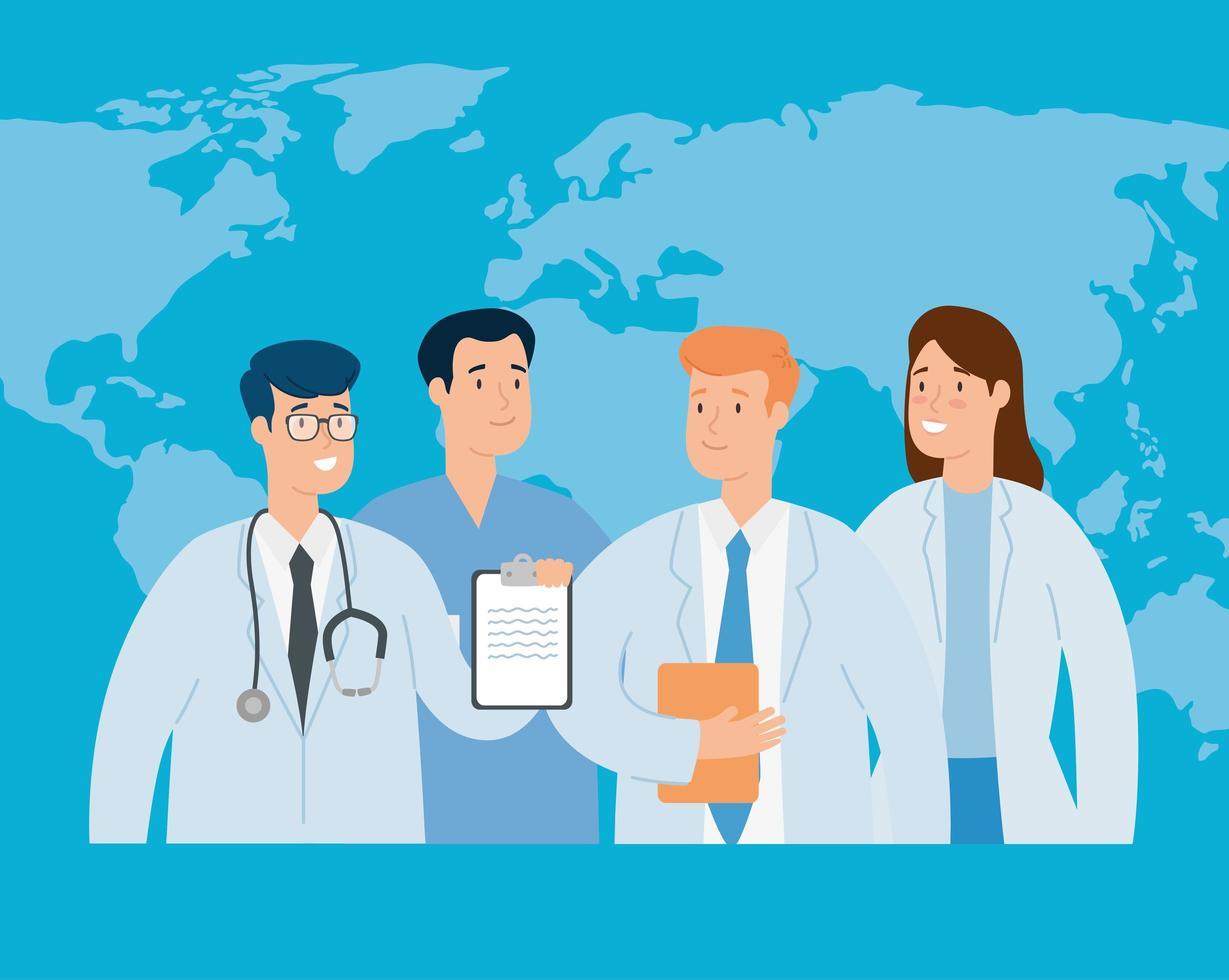 groupe de médecins avec carte du monde vecteur