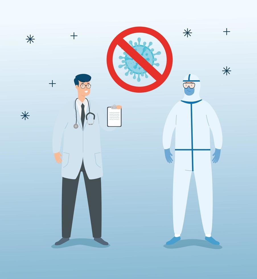groupe de médecins luttant contre le coronavirus vecteur