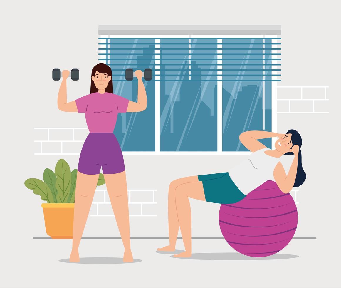 femmes exerçant dans la maison vecteur