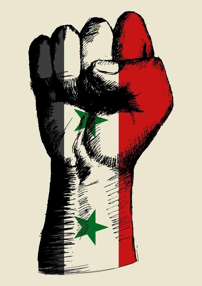 illustration de croquis d'un poing avec insigne de la Syrie. l'esprit d'une nation vecteur
