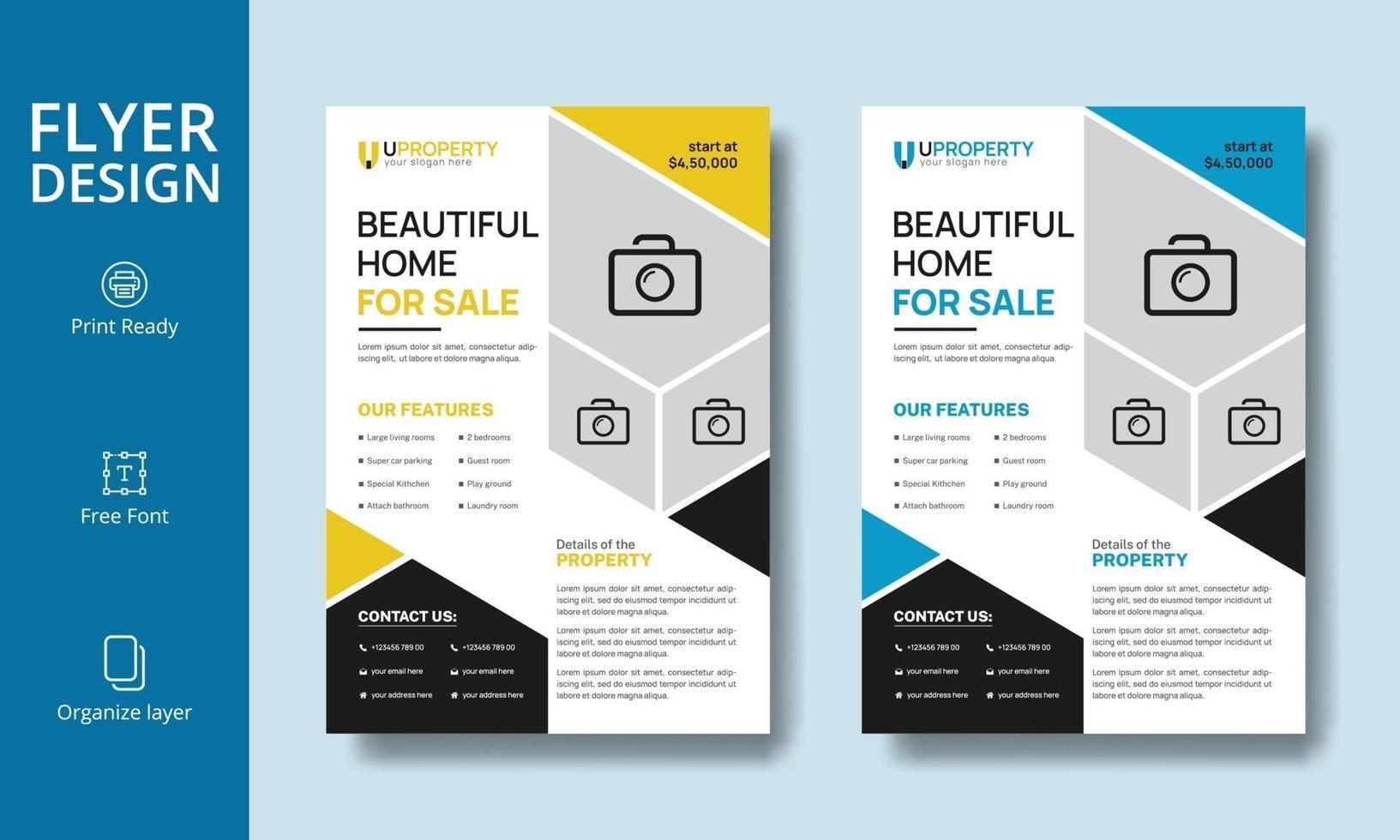 belle conception de flyer immobilier moderne jaune et bleu vecteur