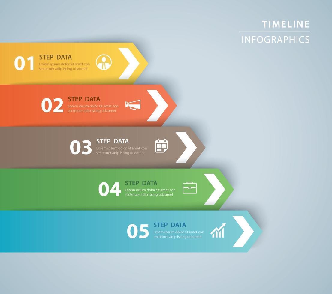5 modèle d'index de papier onglet infographie de données. illustration vectorielle abstrait. peut être utilisé pour la mise en page du flux de travail, l'étape commerciale, la bannière, la conception Web. vecteur