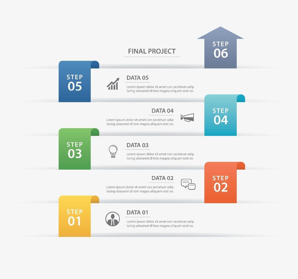 6 modèle d'index de papier onglet chronologie infographie de données. illustration vectorielle abstrait. peut être utilisé pour la mise en page du flux de travail, l'étape commerciale, la bannière, la conception Web. vecteur