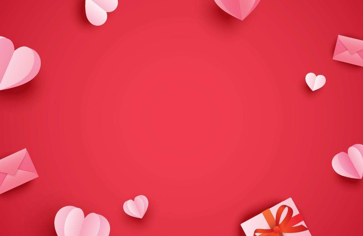 joyeuses cartes de voeux Saint Valentin avec des coeurs en papier sur fond pastel rouge. vecteur