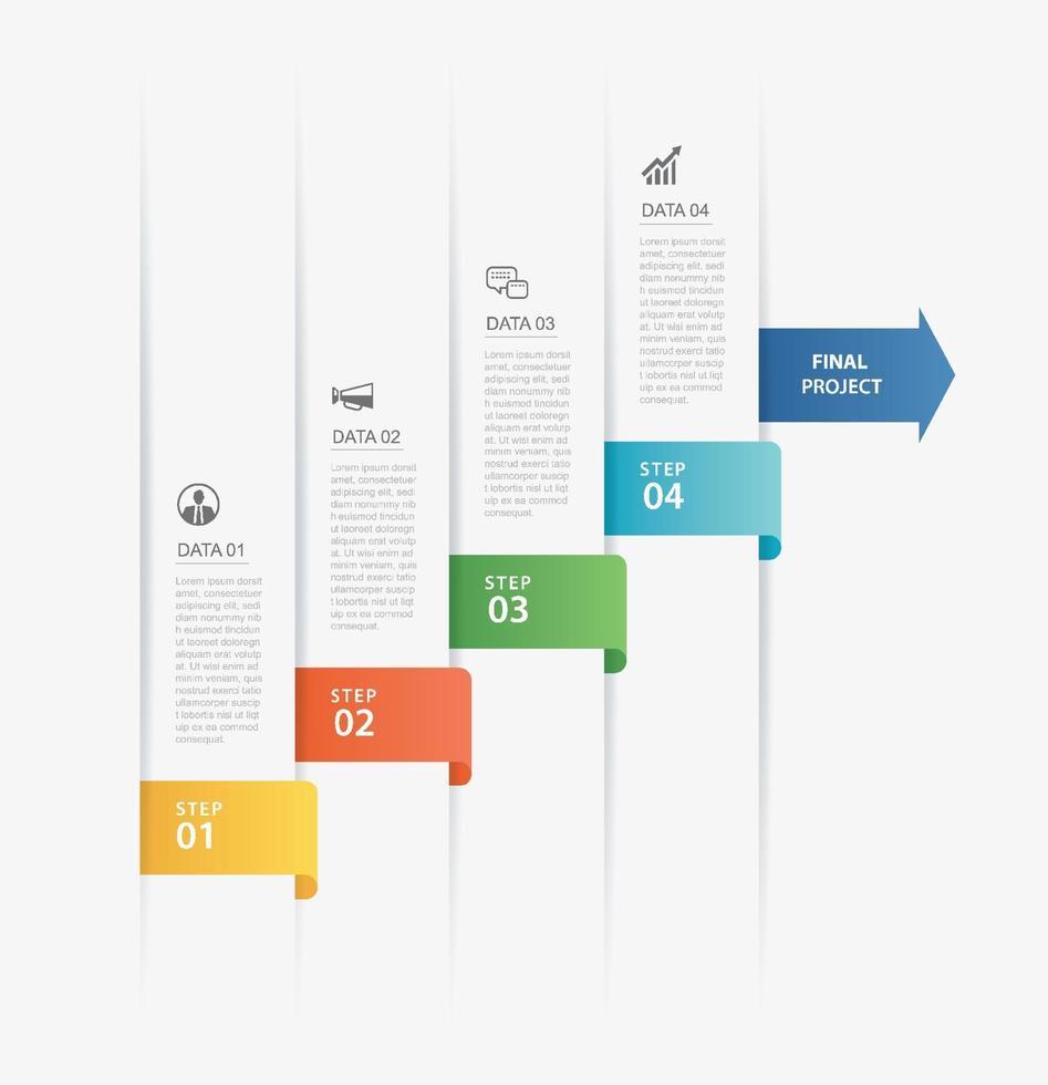 4 modèle d'index de papier onglet chronologie infographie de données. illustration vectorielle abstrait. peut être utilisé pour la mise en page du flux de travail, l'étape commerciale, la bannière, la conception Web. vecteur