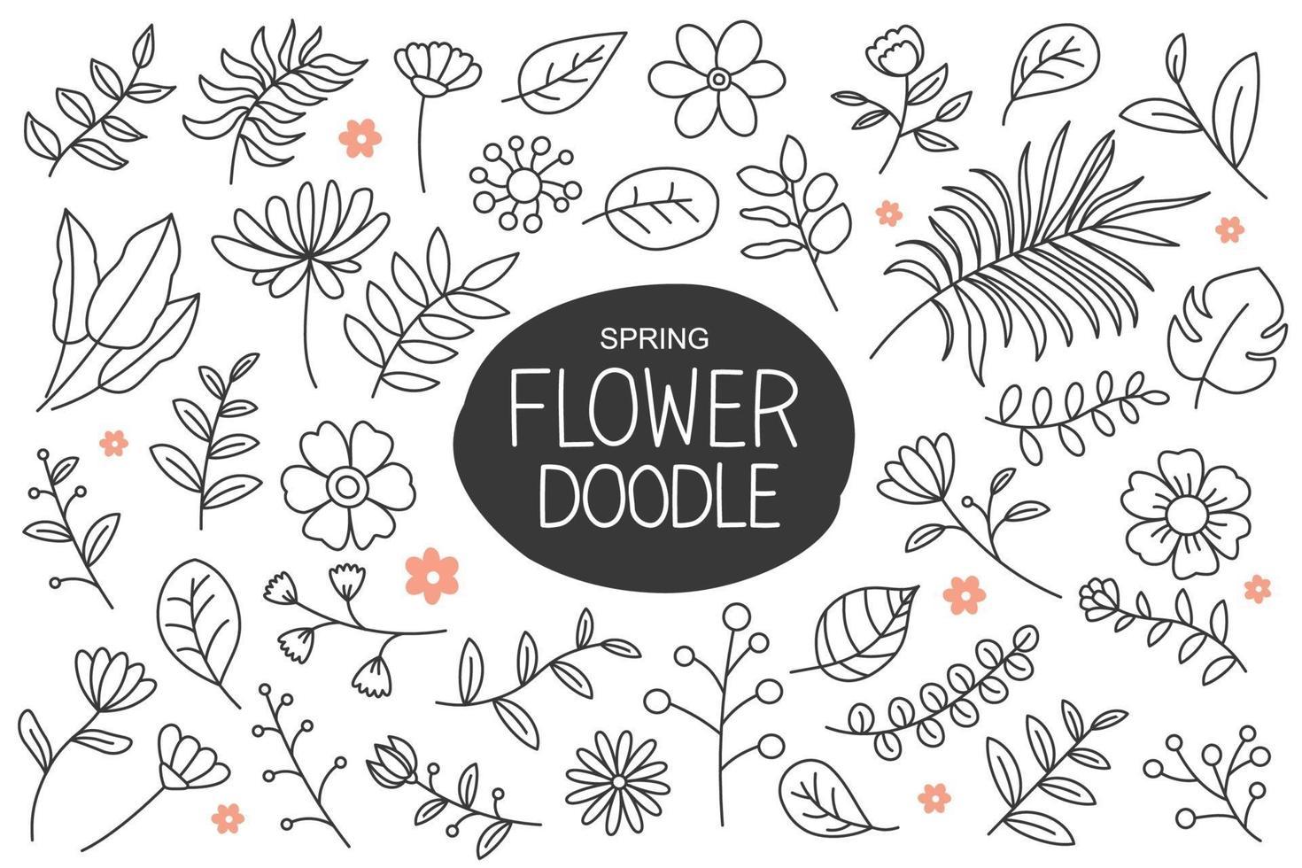 fleurs de printemps doodle dans un style dessiné à la main. collection d'éléments floraux et feuilles. vecteur