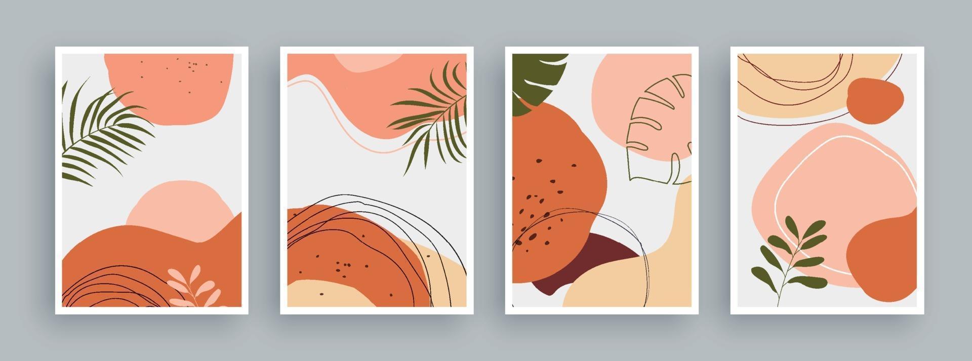 peinture d'art abstrait avec fond de couleurs pastel. éléments géométriques minimalistes et ligne dessinée à la main. style nordique scandinave du milieu du siècle. vecteur